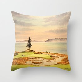 Chambers Bay Golf Course 15th Hole Throw Pillow