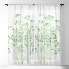 green clover leaf  watercolor arts 2021 Sheer Curtain