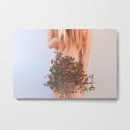 Treasures, Woman with Plants, Nature Goddess Metal Print