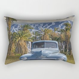 Vintage Blue Plymouth Automobile against Palm Trees and Cloudy Blue Sky near Palm Springs California Rectangular Pillow