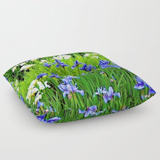 BLUE & WHITE  IRIS FLOWER GARDEN by sharlesart