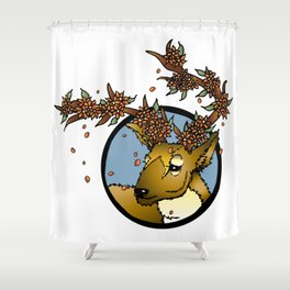 Flowered Antlers Shower Curtain