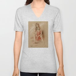 Sexy Lady in Red Dress Unisex V-Neck