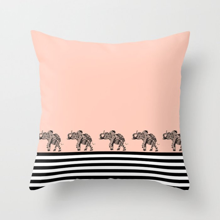 Malawi Elephant Throw Pillow : ELEPHANT & STRIPES CORAL Throw Pillow by monikastrigel Society6