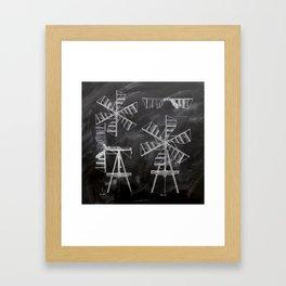 steampunk western country chalkboard art agriculture farm windmill patent print Framed Art Print