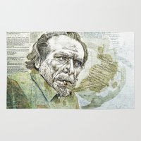 bukowski Area & Throw Rugs featuring Charles Bukowski by Nina Palumbo Illustration