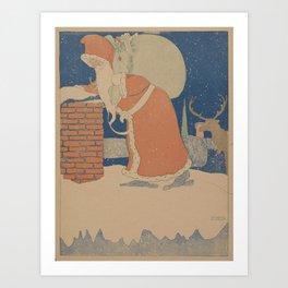 Vintage Santa Claus Going Down The Chimney Illustration (1901) Art Print