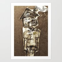 cartoons Art Prints featuring Saturday Morning Cartoons 1: Homebody by Kayleigh Morin