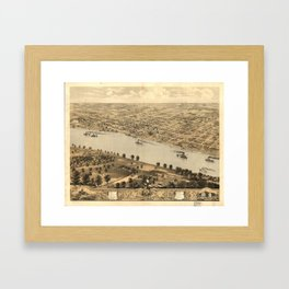 Vintage Pictorial Map of Jefferson City MO (1869) Framed Art Print
