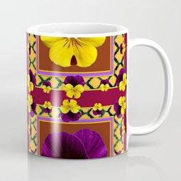 MAROON QUATREFOIL PURPLE & YELLOW SPRING PANSIES Coffee Mug