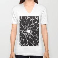 dahlia V-neck T-shirts featuring Dahlia by Gemma Bullen Design