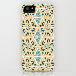 Hand Drawn Geometric Mosaic Pattern Design - Green and Yellow iPhone Case