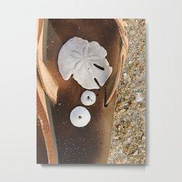Sandollar on flip flops   Rehoboth Beach, DE Metal Print