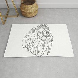 Lion Princess Wearing Tiara Mosaic Black and White Rug