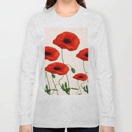GRAPHIC RED POPPY FLOWERS ON WHITE Long Sleeve T-shirt