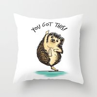 motivational Throw Pillows featuring Motivational Hedgehog by Samantha DeLuca