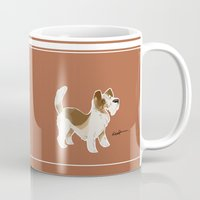 jack russell Mugs featuring Jack Russell Terrier by Emma Pennington