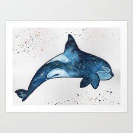 """Blue galaxy Orca"" watercolor painting Art Print"