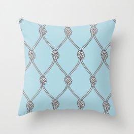 Rope Knots Print- Light Blue Throw Pillow