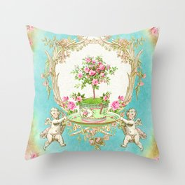 French Baroque Patisserie Tea Throw Pillow