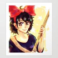 kiki Art Prints featuring Kiki by kimiyo