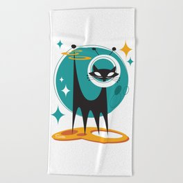 Atomic Space Cat Mid Century Modern Art Scooter Beach Towel