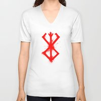 berserk V-neck T-shirts featuring Cursed Mark by CaptainSunshine