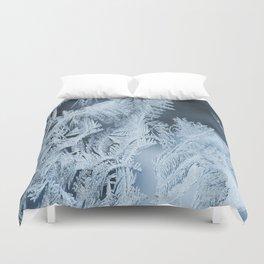 White Ice Crystals On Blue Background #decor #society6 #homedecor Duvet Cover