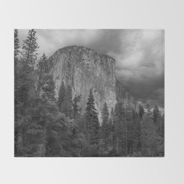 Yosemite National Park, El Capitan, Black and White Photography, Outdoors, Landscape, National Parks Throw Blanket
