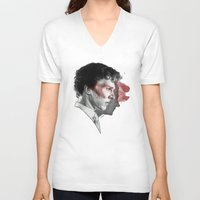 johnlock V-neck T-shirts featuring Johnlock by Cécile Pellerin