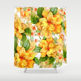 Yellow Hibiscus Tropical Continuous Floral Pattern Shower Curtain