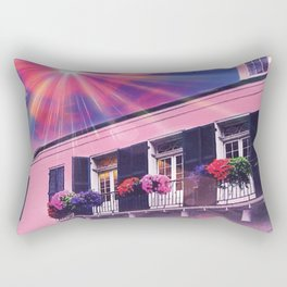 Sunshine on Pink New Orleans French Quarter Nola Home Floral Botanical Garden Cotton Candy Blue Sky Rectangular Pillow