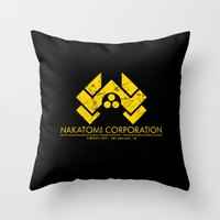 die hard Throw Pillows featuring DIE HARD - Nakatomi Corporation, Los Angeles by La Cantina