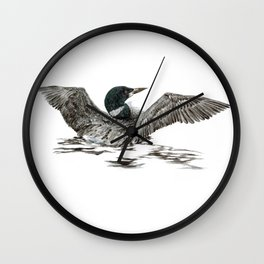 Morning Stretch - Common Loon Wall Clock