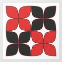 70's Flower Pattern Black Red by oldurbanfarmhouse