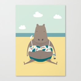 Sunbathing Hippo Canvas Print