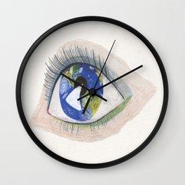 The Eye Sees Earth Wall Clock