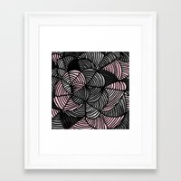 gray pattern Framed Art Prints featuring Abstract Pattern - Gray & Pink by Georgiana Paraschiv