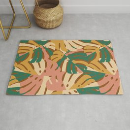 Monstera Leaves - Gold - Green - Pink Rug
