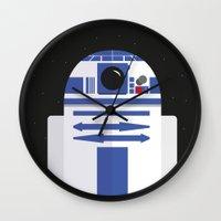 r2d2 Wall Clocks featuring R2D2 by FioMedina