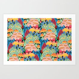 Fungi World (Mushroom world) - BKBG Art Print