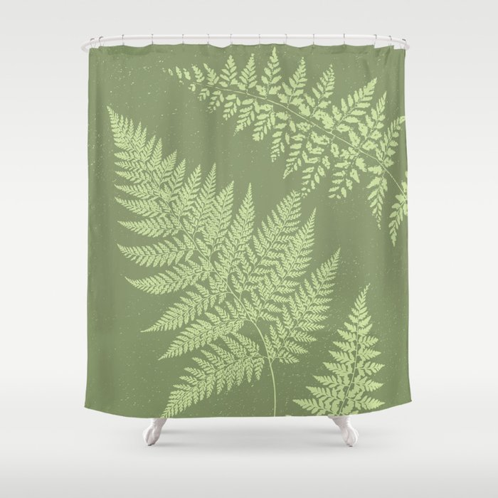 Dark Olive Fern Shower Curtain