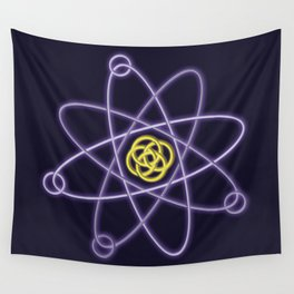 Gold and Silver Atomic Structure Wall Tapestry