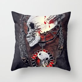 Dream Catcher Skull Throw Pillow