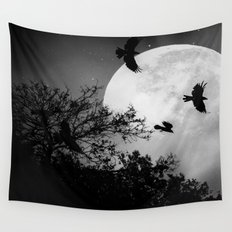 Haunting Moon & Trees Wall Tapestry