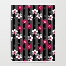 Crimson and white flowers on a black striped background Poster