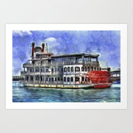 New Orleans Paddle Steamer Van Goth Art Print