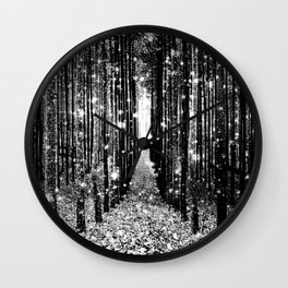 Magical Forest Black White Gray Wall Clock