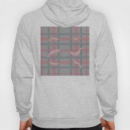 Whale Plaid #1 PINK and GREY Hoody