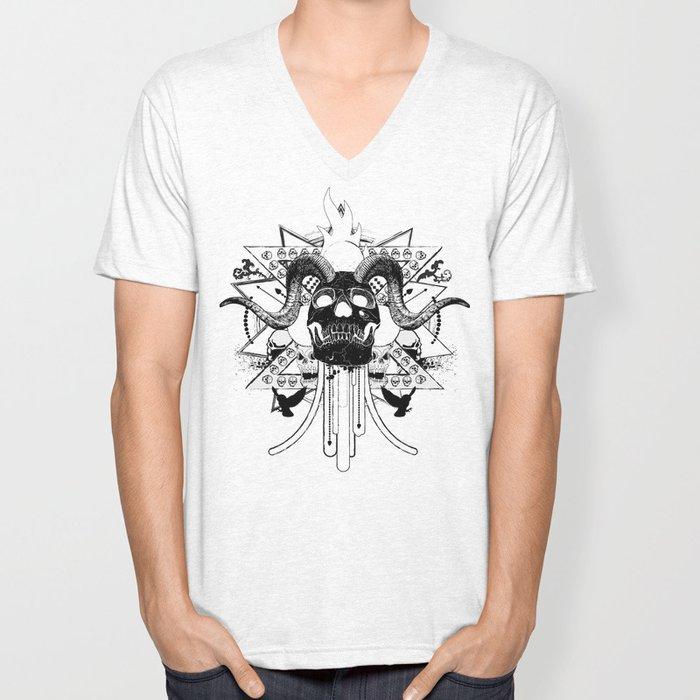Rock Horned Skull Graphic  Unisex V-Neck